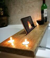Wooden Bath Caddy Tray Bathtub Board  Shelf Wine Tablet Holder industrial grey