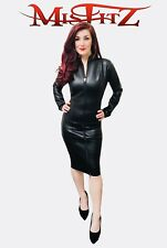 Misfitz black leather look  pencil mistress dress 2 way zip 8-32/made to measure