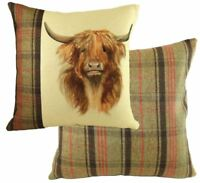 "EVANS LICHFIELD HUNTER HIGHLAND COW HAND PAINTED ANIMALS CUSHION COVER 17"" 43CM"