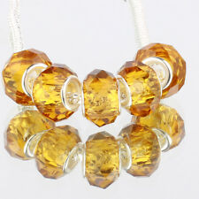 Crystal golden 5pc MURANO glass bead LAMPWORK fit European Charm Bracelet