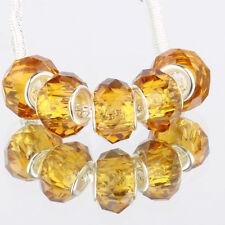 Crystal golden 5pc MURANO glass bead LAMPWORK fit European Charm Bracelet