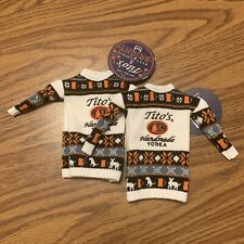 Tito's 2020 Handmade VODKA Holiday Sweater Bottle Toppers Set of 2 Koozies