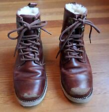 Vintage UGG Australia Boots Size 7 Waterproof Burgundy Leather Sheepskin Vibram
