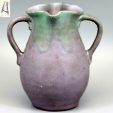 "VTG c.1930 Muncie Double Handled Art Vase Green over Purple Glaze ""A"" Marked"