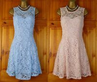 NEW EX QUIZ POWDER BLUE PINK LACE GLITTER PARTY COCKTAIL DRESS UK 10 14 RRP £35