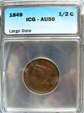 1849 Half Cent Braided Hair (AU-50) Lg. Date