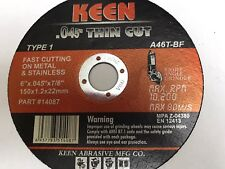 200 Pack Slice-It Cut-Off Wheels 6 x .045 x 7/8 KEEN ABRASIVES 14084