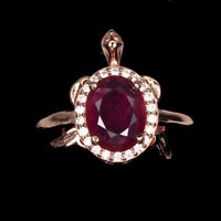 Oval Red Ruby 9x7mm White Cz 925 Sterling Silver Adjustable Turtle Ring Size 6.5