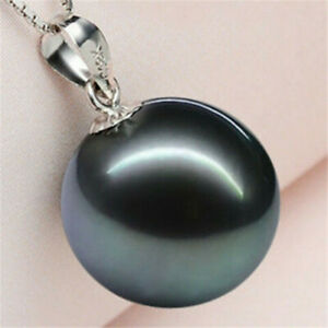14MM Natural Black Shell Pearl Silver Pendant Necklace Chain
