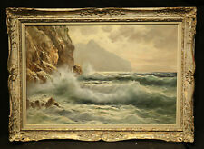 Antique Painting Seascape Ocean and Mountain Italian Artist Gido Odierna