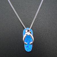 Australia Style Flip Flop Fire Opal AAA Flower Sterling S925 Necklace Pendant