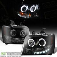 Blk Smoke 2007-2013 Chevy Suburban/Tahoe/Avalanche LED Halo Projector Headlights