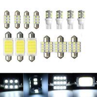 14x White Car Interior COB LED Bulbs Package Kit T10 & 31mm 42mm Light Lamp