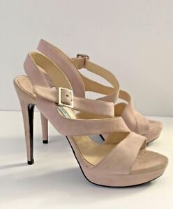 PRADA Milano Size 37 US 6.5 Suede Strappy Platform High Heels Blush Pink