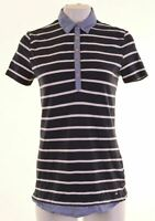 TOMMY HILFIGER Womens Polo Shirt Size 14 Medium Navy Blue Striped Cotton  IG01