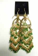 Green Hand Beaded Glass Dangle Earrings-1970's-HIPPIE-NEW-India-Goldtone-PIERCED