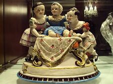 Conta & Boehme German Porcelain Concealed Inkwell Figurine Three Sisters /19thC