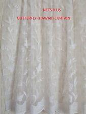 "HAWAII BUTTERFLY WHITE NET CURTAIN-DROP 36"" (91cm) sold on roll £4.50 P/metre"