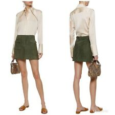 Theory Lupah L Women's Skirt Size 00 Deep Military Maynird Suede Leather Mini