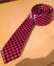 Funky Satin Skinny Tie/Fancy Dress/Costume/Rock/Punk/Emo/Pink Chequered Print