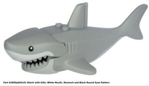 Lego City Large Shark w/ Gills,White Mouth,Stomach and Black Round Eyes Pattern