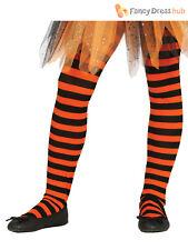 Kids Girls Orange and Black Striped Tights Halloween Pumpkin Witch Costume