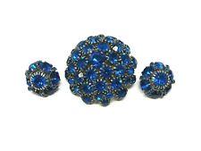 Vintage WARNER Blue Rhinestone Dome Brooch Matching Earrings
