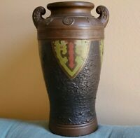 Antique Japanese Art Deco Pottery Vase, Bronze Brown, Heavy,Textured,Tokanabe?,