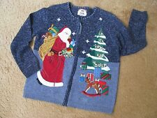 TIARA Ugly XMAS Zipper Sweater Appliqued Santa Tree Beads Sequins Navy Blue M L