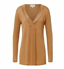 SEED Brand New Dark Bronze Dipped Long Sleeve Stretch V-Neck Ribbed Top $69.95 L