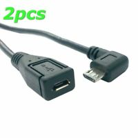 2PCS Right angled 90d Micro USB 2.0 Male to Female tablet phone extension cable