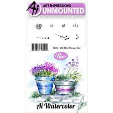 New ART IMPRESSIONS RUBBER STAMP Cling  watercolor MINI FLOWER SET FREE US SHP