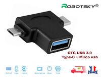 2 en 1 Micro USB + Type-C Male Vers USB 3.0 Femelle OTG Convertisseur Adapter