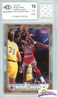 2007 Fleer #10 Michael Jordan+Game Used Jersey BECKETT 10 MINT 1986 Fleer Design