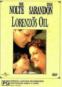 Lorenzos Oil DVD Susan Sarandon & Nick Nolte Movie 1992 Love Disease Film