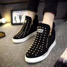 Womens Studded Hidden Wedge Heel Trainers Casual Slip on Hig Sports Shoes Chic a Black UK 5 EU 38 US 7