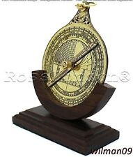 Vintage Solid Brass Astrolabe with wooden stand