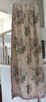 Vintage Printed Pale Pink Roses & Lace Cotton Fabric Curtain Panel c1938-1945