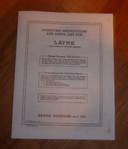 SEARS CRAFTSMAN 9 INCH 30 LONG BETWEEN BENCH LATHE OWNERS MANUAL 103.23070 23070