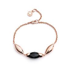 DESIGNER Jewellery Rose Gold Hera Bracelet Black Onyx Stone Azuni Gift Pouch