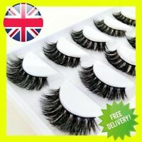 3D Mink Eyelashes Luxury 5 Pairs Wispy Thick False Long Layered Lashes Makeup UK