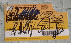ORIGINAL Autogramme von den Scorpions 100% ECHT. Signiertes Ticket. CRAZY WORLD