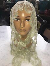 Stunning Antique Victorian Lace Mantilla 19th C Shawl Black Mourning Veil White
