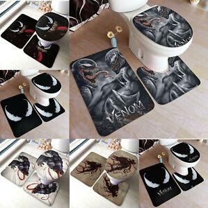 Marvel Venom Non-Slip Bath Mats 3PCS Toilet Lid Cover Contour Rug Bathroom Decor