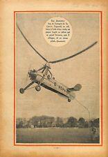 Autogire autogiro Juan de La Cierva hélicoptère rotor hélice 1933 ILLUSTRATION