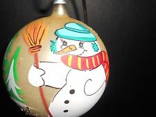 CHRISTMAS***VINTAGE GLASS HAND PAINTED ORNAMENT