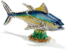 Yellow Fin Tuna Large ~ Bejeweled Enamel Trinket Box # 3479
