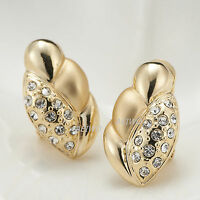 9K GF 9CT YELLOW GOLD MADE WITH SWAROVSKI CRYSTAL LADY PARTY SOLID STUD EARRINGS