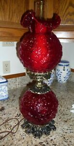 FENTON RUBY RED POPPY GONE WITH THE WIND ELECTRIC LAMP
