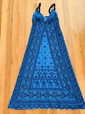ELIE TAHARI Dress Blue Long Brown Broderie Anglaise Beaded sleeveless XS BOHO